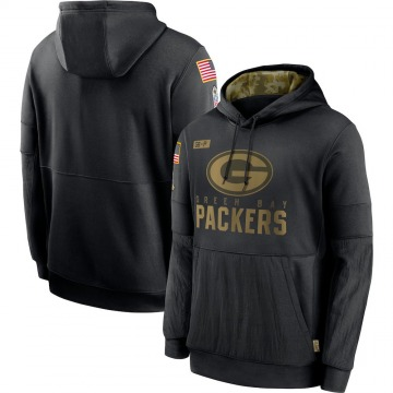 Men's Nike Green Bay Packers Black 2020 Salute to Service Sideline Performance Pullover Hoodie -