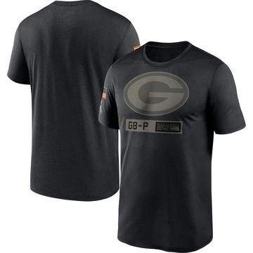 Men's Nike Green Bay Packers Black 2020 Salute to Service Team Logo Performance T-Shirt -