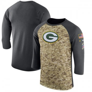 Men's Nike Green Bay Packers Camo /Anthracite Salute to Service 2017 Sideline Performance Three-Quarter Sleeve T-Shirt - Legend