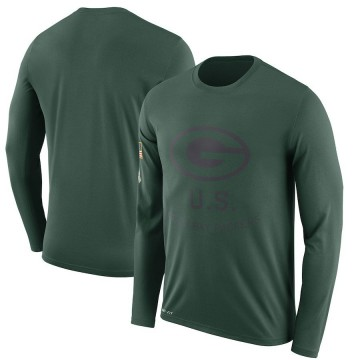 Men's Nike Green Bay Packers Green 2018 Salute to Service Sideline Performance Long Sleeve T-Shirt - Legend