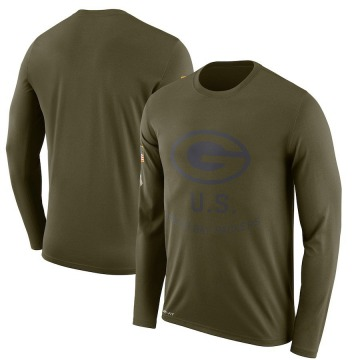 Men's Nike Green Bay Packers Olive 2018 Salute to Service Sideline Performance Long Sleeve T-Shirt - Legend