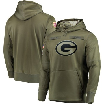 Men's Nike Green Bay Packers Olive 2018 Salute to Service Sideline Therma Performance Pullover Hoodie -