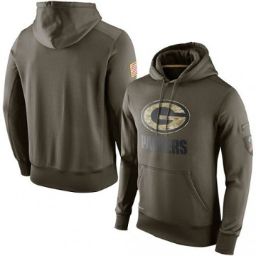 Men's Nike Green Bay Packers Olive Salute To Service KO Performance Hoodie -