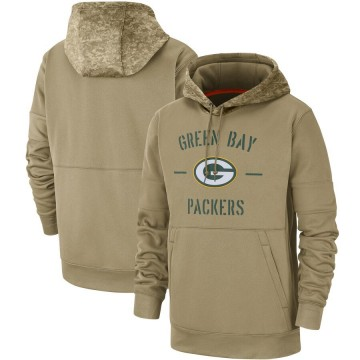 Men's Nike Green Bay Packers Tan 2019 Salute to Service Sideline Therma Pullover Hoodie -