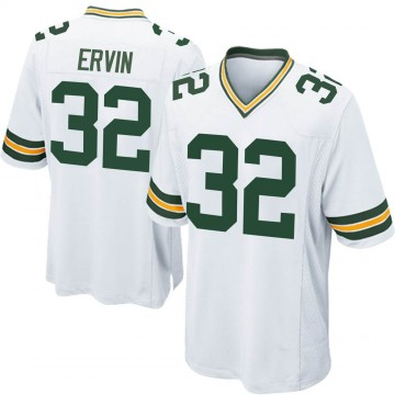 Men's Nike Green Bay Packers Tyler Ervin White Jersey - Game
