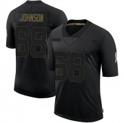 Men's Nike Green Bay Packers Zack Johnson Black 2020 Salute To Service Jersey - Limited