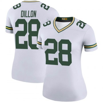 Women's Nike Green Bay Packers AJ Dillon White Color Rush Jersey - Legend