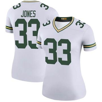Women's Nike Green Bay Packers Aaron Jones White Color Rush Jersey - Legend