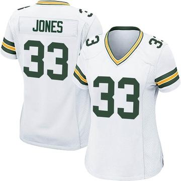 Women's Nike Green Bay Packers Aaron Jones White Jersey - Game