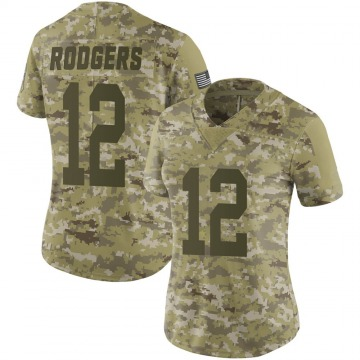 Women's Nike Green Bay Packers Aaron Rodgers Camo 2018 Salute to Service Jersey - Limited