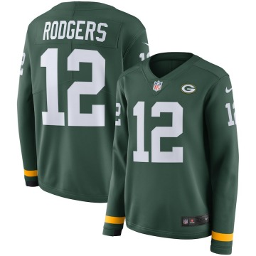 Women's Nike Green Bay Packers Aaron Rodgers Green Therma Long Sleeve Jersey -