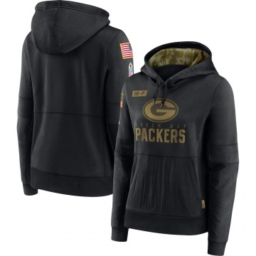 Women's Nike Green Bay Packers Black 2020 Salute to Service Performance Pullover Hoodie -