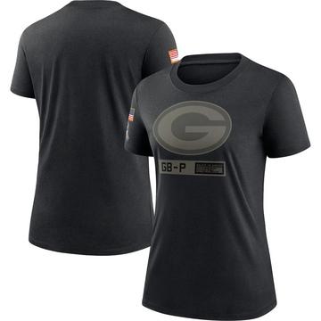 Women's Nike Green Bay Packers Black 2020 Salute To Service Performance T-Shirt -