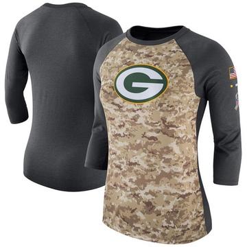 Women's Nike Green Bay Packers Camo /Charcoal Salute to Service 2017 Three-Quarter Raglan Sleeve T-Shirt - Legend