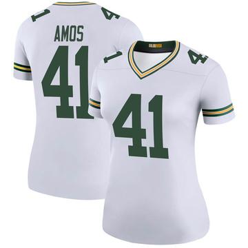 Women's Nike Green Bay Packers DaShaun Amos White Color Rush Jersey - Legend