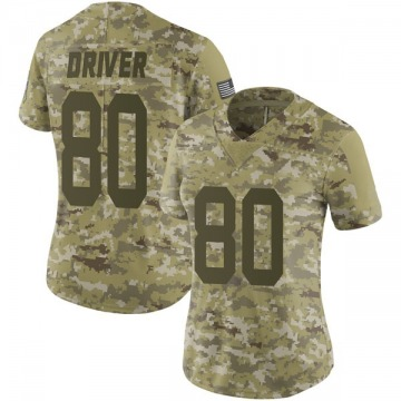 Women's Nike Green Bay Packers Donald Driver Camo 2018 Salute to Service Jersey - Limited