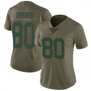 Women's Nike Green Bay Packers Donald Driver Green 2017 Salute to Service Jersey - Limited