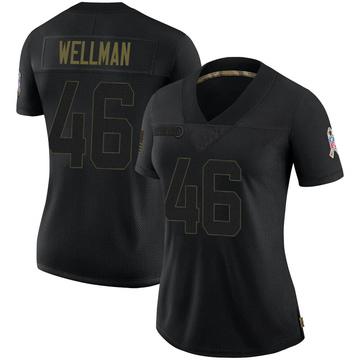Women's Nike Green Bay Packers Elijah Wellman Black 2020 Salute To Service Jersey - Limited
