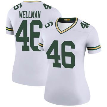 Women's Nike Green Bay Packers Elijah Wellman White Color Rush Jersey - Legend