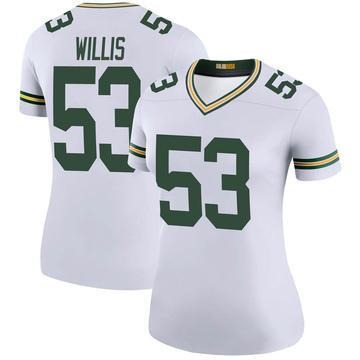 Women's Nike Green Bay Packers Gerald Willis III White Color Rush Jersey - Legend