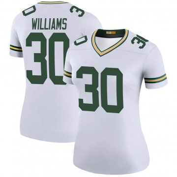 Women's Nike Green Bay Packers Jamaal Williams White Color Rush Jersey - Legend