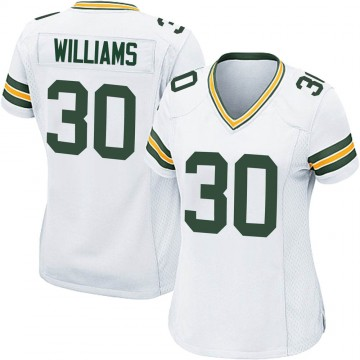Women's Nike Green Bay Packers Jamaal Williams White Jersey - Game