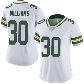 Women's Nike Green Bay Packers Jamaal Williams White Vapor Untouchable Jersey - Limited