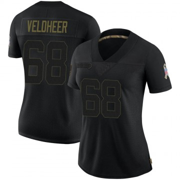 Women's Nike Green Bay Packers Jared Veldheer Black 2020 Salute To Service Jersey - Limited