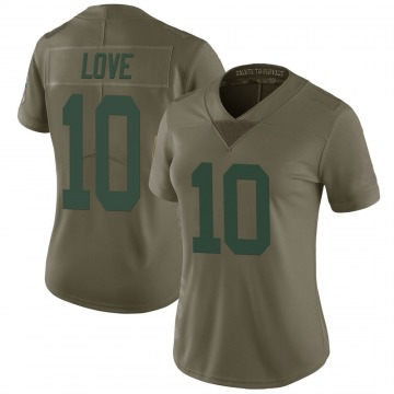 Women's Nike Green Bay Packers Jordan Love Green 2017 Salute to Service Jersey - Limited