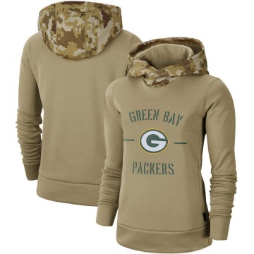 Women's Nike Green Bay Packers Khaki 2019 Salute to Service Therma Pullover Hoodie -