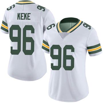 Women's Nike Green Bay Packers Kingsley Keke White Vapor Untouchable Jersey - Limited