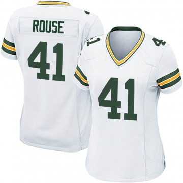 Women's Nike Green Bay Packers Nydair Rouse White Jersey - Game