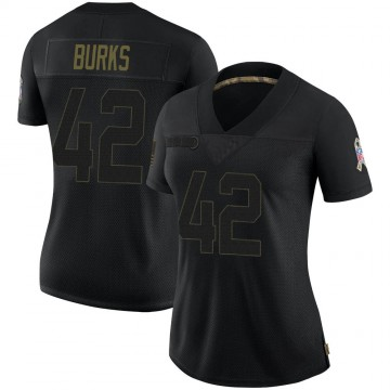 Women's Nike Green Bay Packers Oren Burks Black 2020 Salute To Service Jersey - Limited