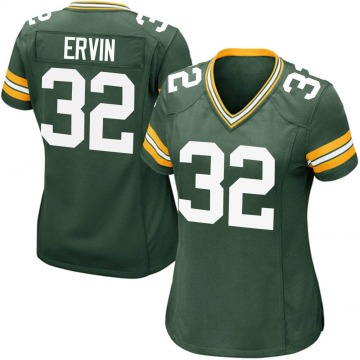 Women's Nike Green Bay Packers Tyler Ervin Green Team Color Jersey - Game
