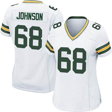 Women's Nike Green Bay Packers Zack Johnson White Jersey - Game