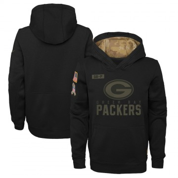 Youth Nike Green Bay Packers Black 2020 Salute to Service Pullover Performance Hoodie -