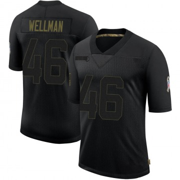Youth Nike Green Bay Packers Elijah Wellman Black 2020 Salute To Service Jersey - Limited