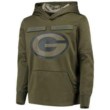 Youth Nike Green Bay Packers Green 2018 Salute to Service Pullover Performance Hoodie -