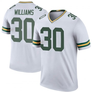 Youth Nike Green Bay Packers Jamaal Williams White Color Rush Jersey - Legend