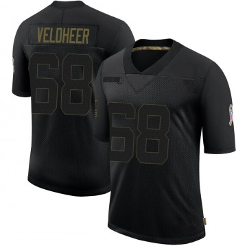 Youth Nike Green Bay Packers Jared Veldheer Black 2020 Salute To Service Jersey - Limited