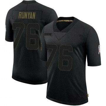 Youth Nike Green Bay Packers Jon Runyan Black 2020 Salute To Service Jersey - Limited