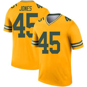 Youth Nike Green Bay Packers Jordan Jones Gold Inverted Jersey - Legend