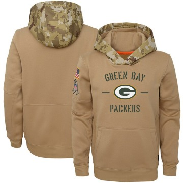 Youth Nike Green Bay Packers Khaki 2019 Salute to Service Therma Pullover Hoodie -