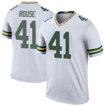 Youth Nike Green Bay Packers Nydair Rouse White Color Rush Jersey - Legend