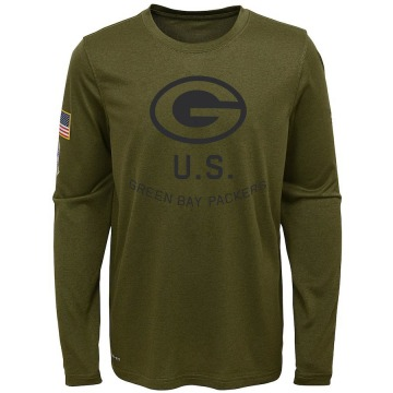 Youth Nike Green Bay Packers Olive 2018 Salute to Service Performance Long Sleeve T-Shirt - Legend